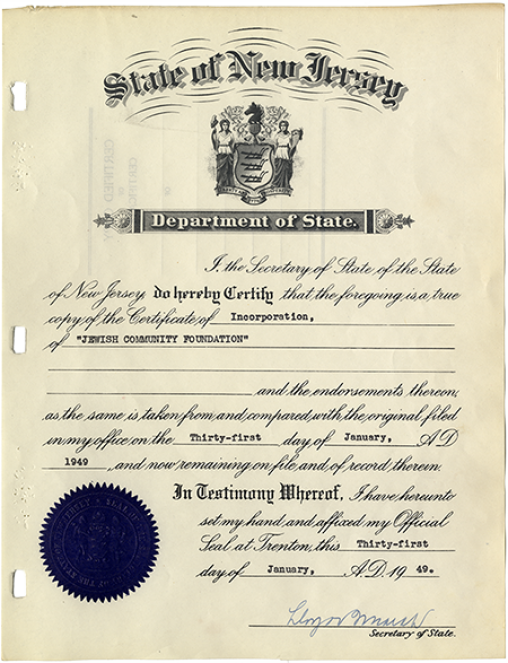 Certificate of Incorporation, JCF