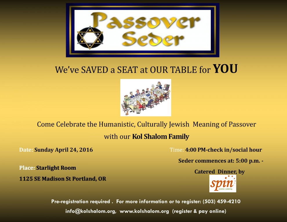 A Humanistic Jewish Passover Seder With Kol Shalom Jewish