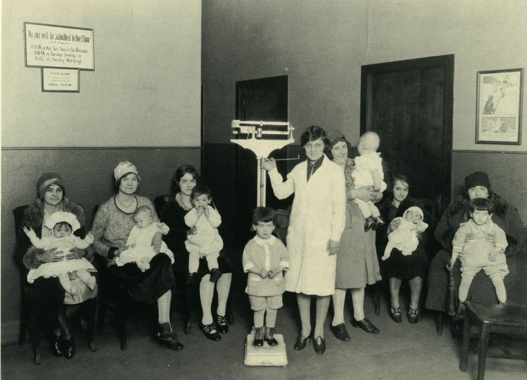 Mothers and children at the first Jewish Hospital in Cincinnati