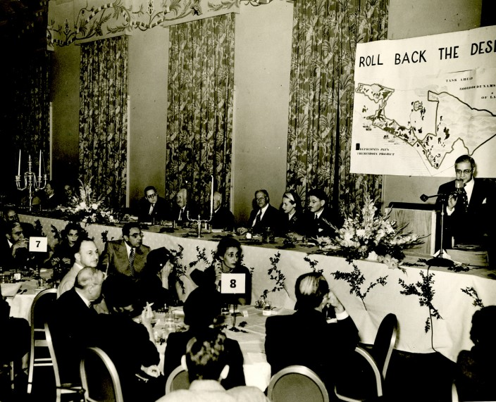Men and women at a banquet in 1950 for the Jewish National Fund in support of Israel